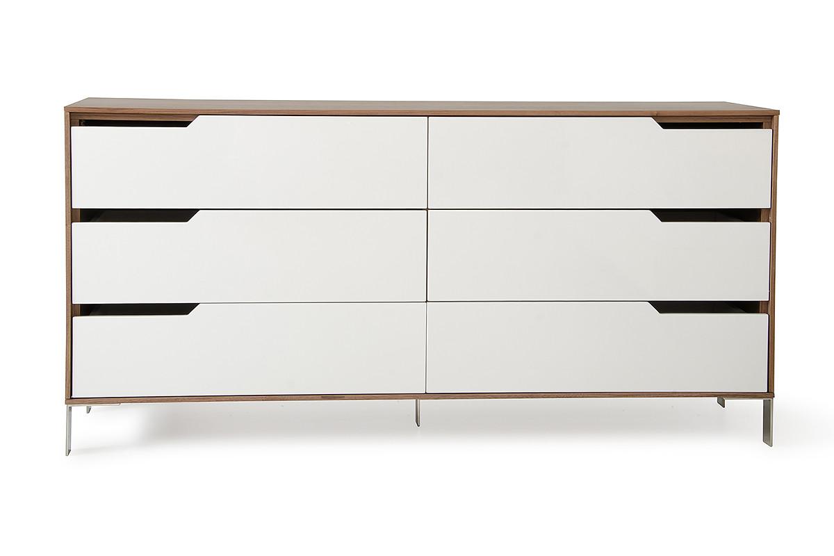 Modrest River Modern White   Walnut Dresser. Dressers   Chests