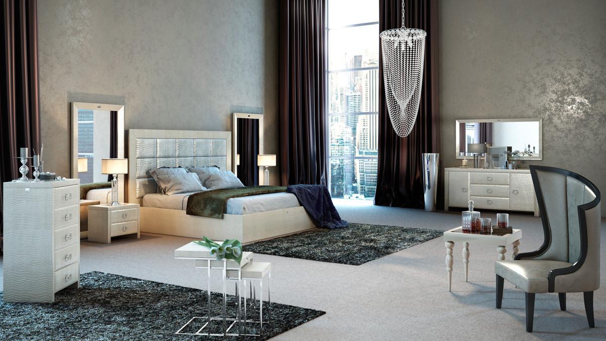 A X Glam Modern Champagne Bed. Armani Xavira   Bedroom