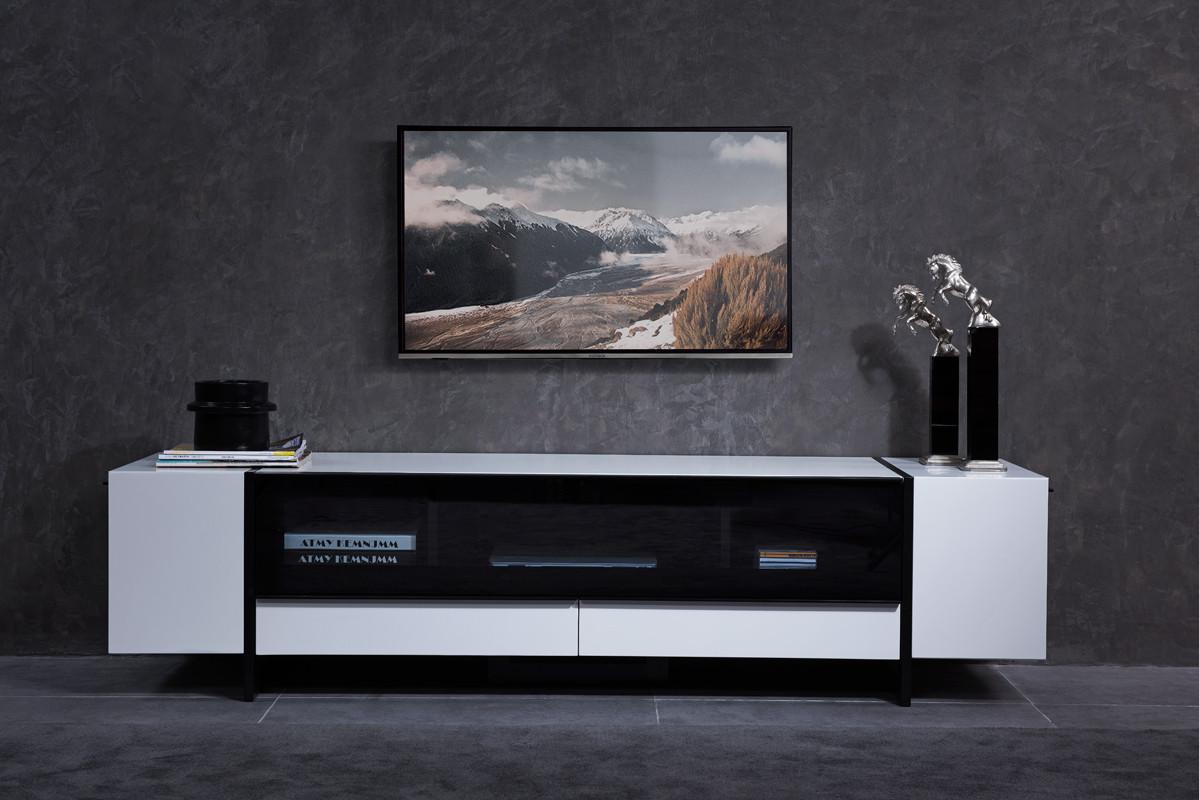 modern living room furniture free shipping around miami  tv stand - nova domus lorena modern white  gun metal black tv stand