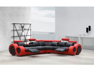 4087 Modern Black and Red Leather Sectional Sofa