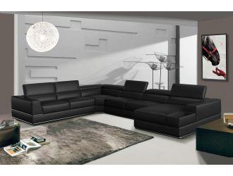Divani Casa Pella - Modern Black Italian Bonded Leather U Shaped Sectional Sofa