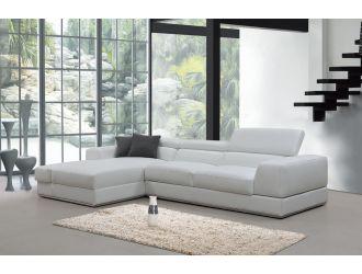 Divani Casa Pella Mini - Modern White Leather Left Facing Sectional Sofa