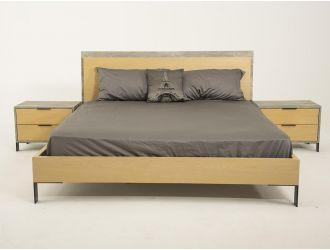 Nova Domus Conner - Modern Light Walnut & Faux Concrete Bed