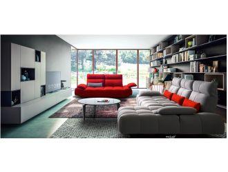 David Ferrari Baloon - Modern Grey + Red Fabric Sectional Sofa Set