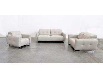 Estro Salotti Duca Modern Grey Leather Sofa Set w/ Recliners