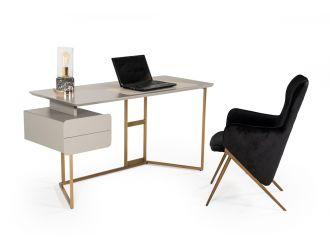 Modrest Deegan Modern Grey & Bronze Office Desk