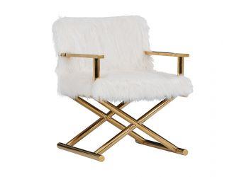 Modrest Corley Modern White Faux Fur & Gold Accent Chair