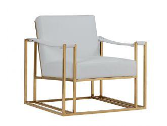 Modrest Larson Modern White Leatherette & Gold Accent Chair