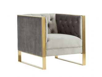 Divani Casa Carlos Modern Grey Velvet & Gold Accent Chair