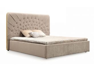 Modrest Moontide - Eastern King Glam Beige Velvet and Brushed Brass Bed