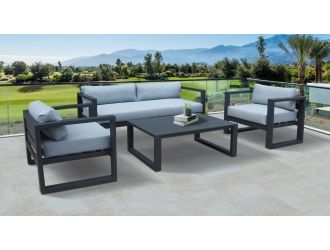 Renava Weber - Modern Outdoor Grey & Black Sofa Set