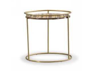 Modrest Gilcrest - Glam Brown and Gold Marble End Table