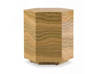 Modrest Lacuna - Glam Amber and Gold Marble End Table