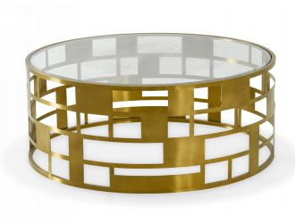 Modrest Kudo - Glam Clear Glass and Gold Glass Coffee Table
