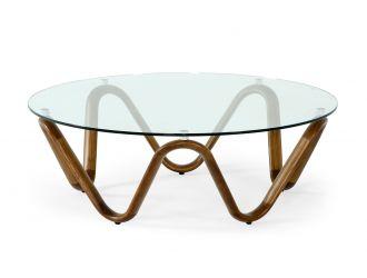 Modrest Lassen - Modern Glass & Walnut Coffee Table
