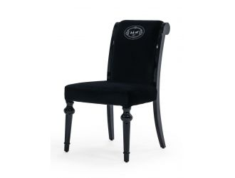 A&X Fedore - Transitional Black Chenille Fabric Dining Chair (Set of 2)