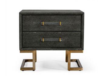 Modrest Howard - Modern Shagreen Grey Leatherette & Gold Nightstand