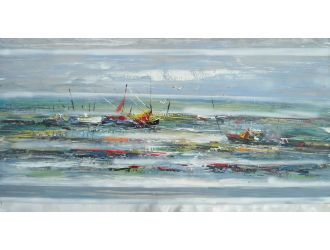 ADC7925 Boats Oil Painting On Canvas and Metal