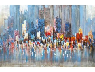 ADC8223 City And Ocean Oil Painting On Canvas and Metal