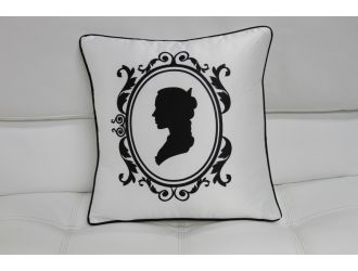 Transitional Black and White Print Throw Pillow