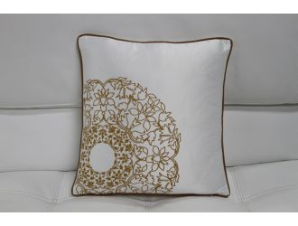 Transitional White and Gold Print Throw Pillow
