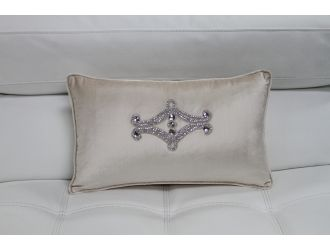 Ivory Elegant Faux Crystal Throw Pillow