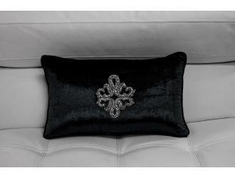 Black Elegant Faux Crystal Rectangle Throw Pillow