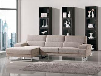 Como Beige L Shape Fabric Sectional Sofa