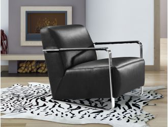 Divani Casa Bison Modern Black Leather Lounge Chair