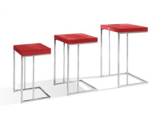 A&X Amelia - Modern Red Crocodile Lacquer End Table Set