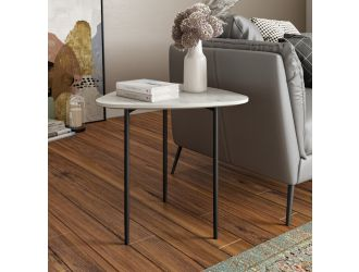Modrest Andros - White Marble + Black Metal End Table