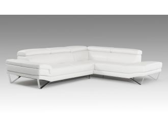 David Ferrari Aria - Italian Modern White Leather Sectional Right Facing Sofa
