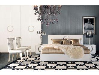A&X Ovidius - Modern White Crocodile Lacquer Bed