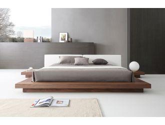 Modrest Opal Modern Walnut & White Platform Bed