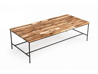 Modrest Bacone - Industrial Oak and Black Iron Coffee Table