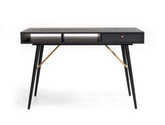 Modrest Billy Modern Black Oak & Gold Office Desk