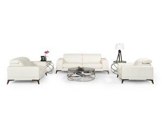 Estro Salotti Bolton Italian Modern White Leather Sofa Set