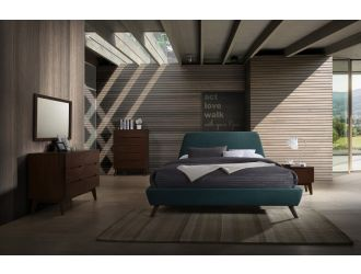 Modrest Lewis Mid-Century Modern Teal & Walnut Bedroom Set
