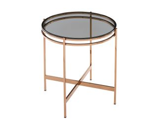 Modrest Bradford - Modern Smoked Glass & Rosegold End Table