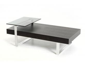 Modrest Caliber Modern Wenge and Glass Coffee Table