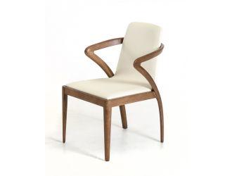 Modrest Falcon Mid-Century Walnut and Cream Dining Chair