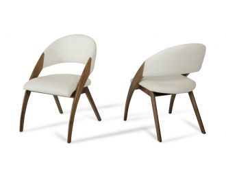Modrest Lucas Mid-Century Cream & Walnut Dining Chair