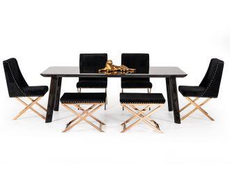 Modrest Chadwick Modern Ebony & Rosegold Dining Table