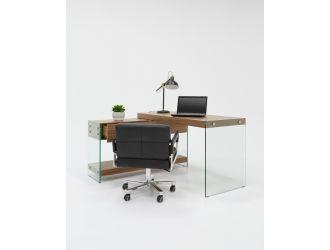 Modrest Laxson Modern Walnut & Glass Office Desk