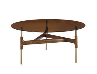 Modrest Lawson Modern Round Walnut & Glass Coffee Table