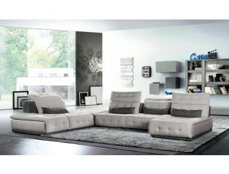 David Ferrari Daiquiri - Italian Modern Light Grey + Dark Grey Fabric Modular Sectional Sofa