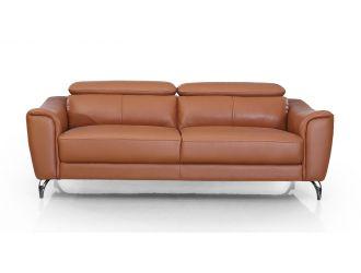 Divani Casa Danis - Modern Cognac Leather Brown Sofa