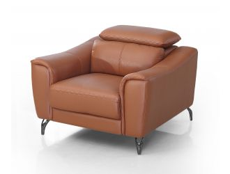 Divani Casa Danis - Modern Cognac Leather Brown Chair