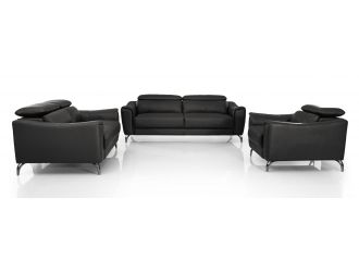 Divani Casa Danis - Modern Black Leather Sofa Set