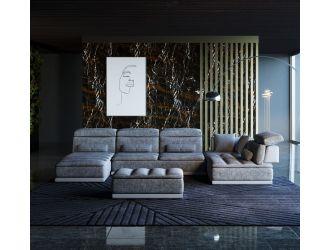 David Ferrari Panorama - Italian Modern Grey Fabric + White Leather Modular Sectional Sofa